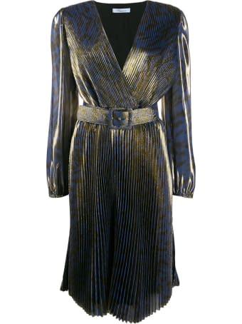 Blumarine Printed Leo Plisse Dress