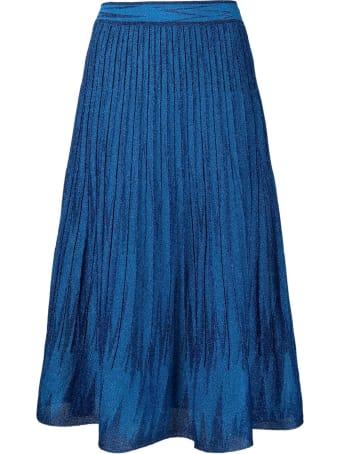 M Missoni Long Blue Lurex Skirt