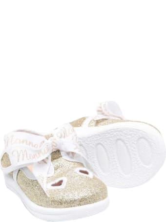 Monnalisa Glitter Platinum Ballet Flats