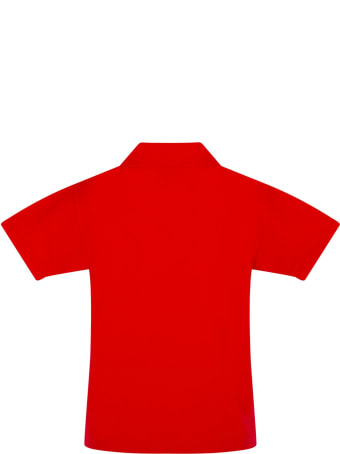 Comme des Garçons Play Red Polo T-shirt For Kids With Logo