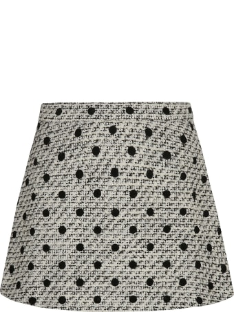Valentino Woven Polka Dot Short Skirt