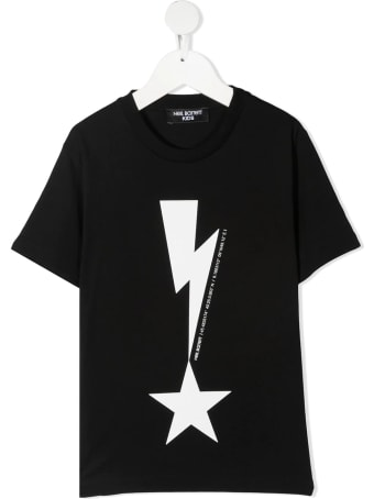 Neil Barrett Kid Black T-shirt With Thunderbolt And Stable Print