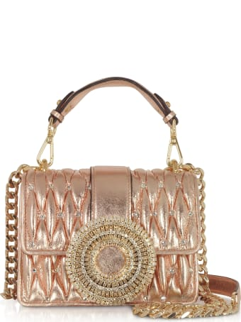 Gedebe Gio Small Rose Gold Leather & Crystal Handbag