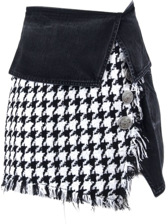 Balmain Short Black And White Skirt