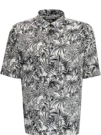 Saint Laurent Floral Viscose Shirt With Jungle Cat Print