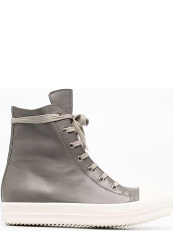 Rick Owens Grey Leather Hi-top Sneakers