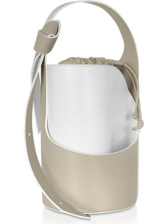 Giaquinto Lily Mini Egret White Bucket Bag