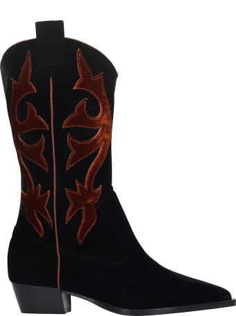 GIA COUTURE Texan Boots In Black Velvet
