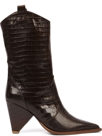 Aldo Castagna Dark Brown Cocodrile Effect Leather