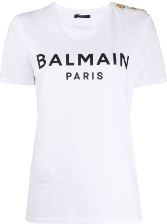 Balmain Jersey Tee With Logo And Embossed Buttons