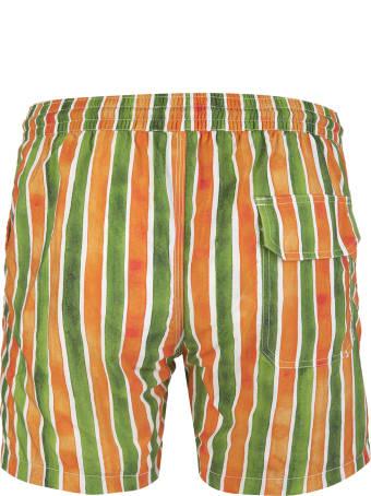 Capri Code Green And Orange Striped Swimsuit