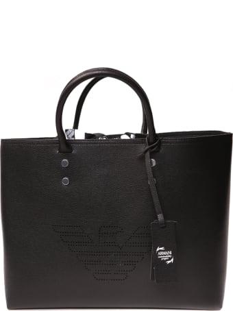 Emporio Armani Black Eco-leather Tote Bag With Logo