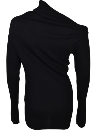 Jil Sander Navy Asymmetric Neck Sweater