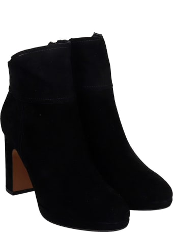 Bibi Lou High Heels Ankle Boots In Black Suede
