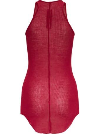 Rick Owens Red Silk Blend Tank Top