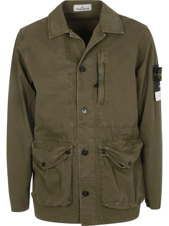 Stone Island Sleeve Logo Patch Buttoned Jacket