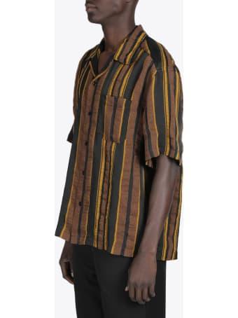 CMMN SWDN Ss Camp Collar Striped Shirt