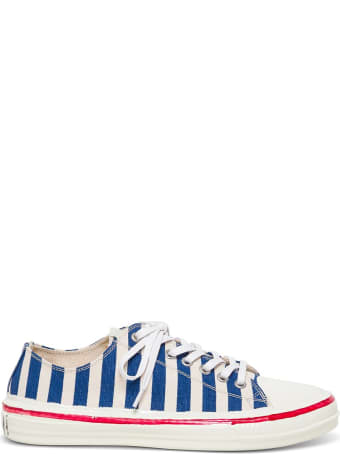 Marni Striped Canvas Sneakers With Logo