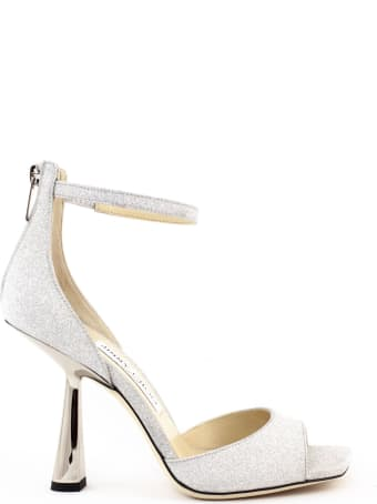 Jimmy Choo Silver Glitter Fabric Reon Sandals