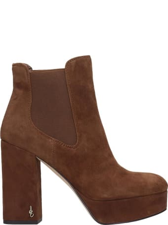 Sam Edelman Abella High Heels Ankle Boots In Leather Color Suede