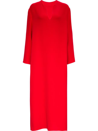 Valentino Long Red Silk Dress