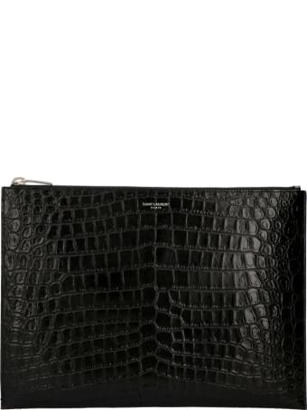 Saint Laurent Logo Detail Flat Leather Pouch