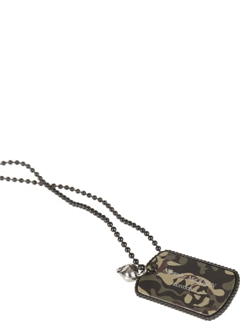 Alexander McQueen Camou Print Dog Tag Necklace