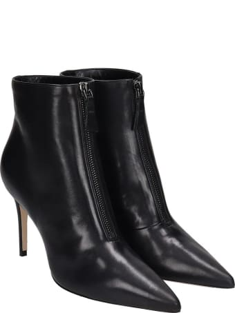 Dei Mille High Heels Ankle Boots In Black Leather