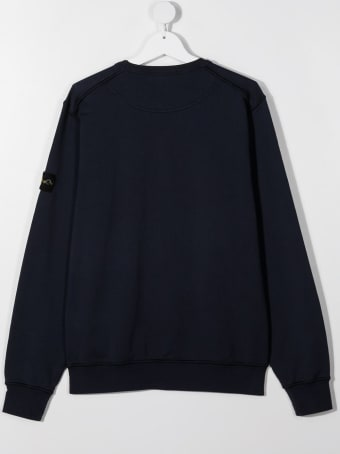 Stone Island Junior Blue Jersey Sweatshirt With Logo