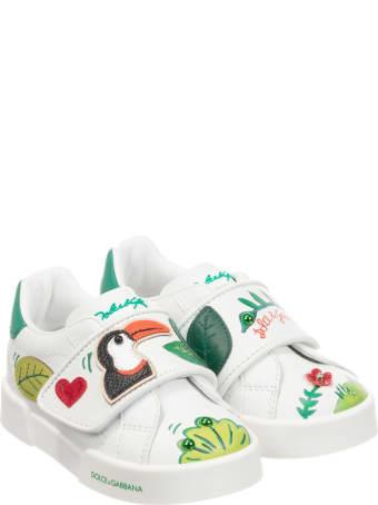 Dolce & Gabbana White Sneakers With Multicolor Press Dolce&gabbana Kids