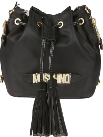 Moschino Logo Plaque Tassel Detail Bucket Bag