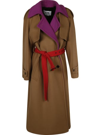 MSGM Double-breasted Belted Trench