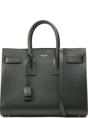 Saint Laurent Small Sac De Jour Green Embossed Leather Bag