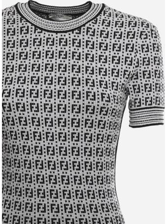Fendi Sheath Midi Dress With All-over Ff Motif