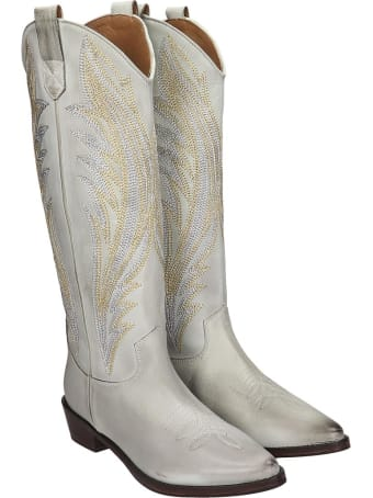 Coral Blue Texan Boots In White Leather