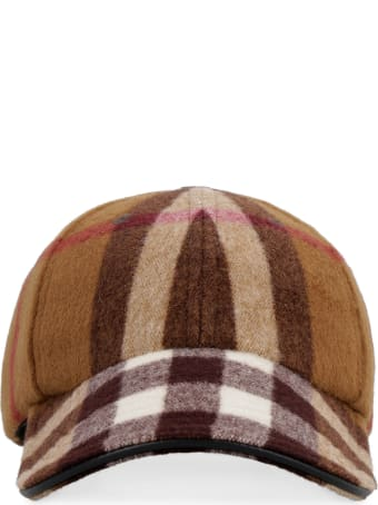 Burberry Check Motif Wool Baseball Cap