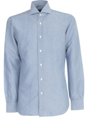 Barba Napoli Shirt W/effect Denim On Neck