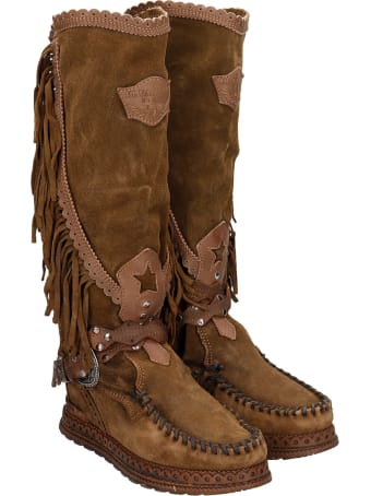 El Vaquero Jade  Low Heels Boots In Leather Color Suede