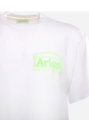 Aries Cotton T-shirt With Patchwork Logo Print