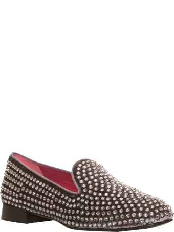181 Alberto Gozzi 181 Cristalle Slipper In Grey Velvet