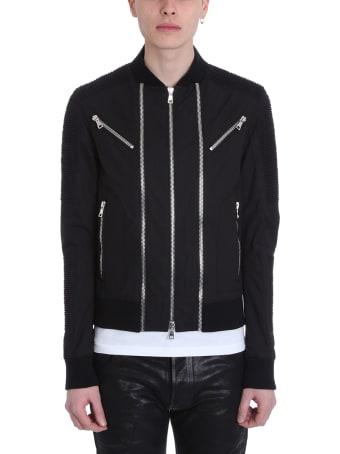 Balmain Black Nylon Biker Jacket