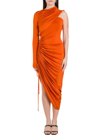 MONSE Draped One-shoulder Satin Dress