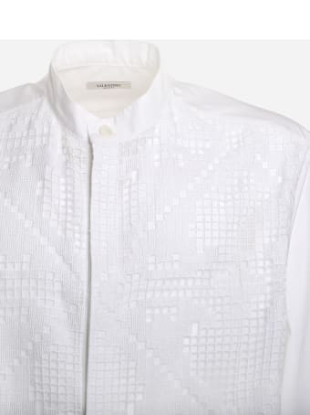 Valentino Cotton Shirt With Perforated Lace Inserts