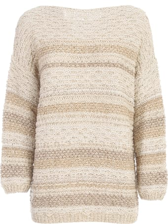 Gentry Striped 3/4s Sweater W/paillettes