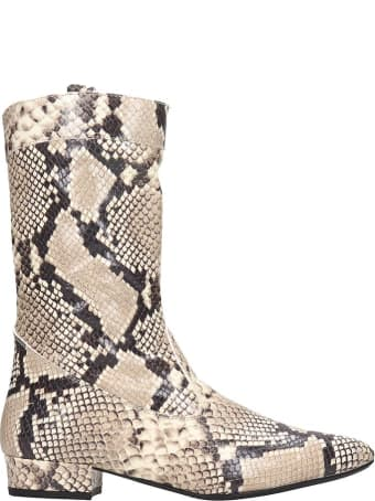 Fabio Rusconi Low Heels Ankle Boots In Animalier Leather