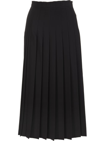 Ermanno Scervino Black Pleated Midi Skirt