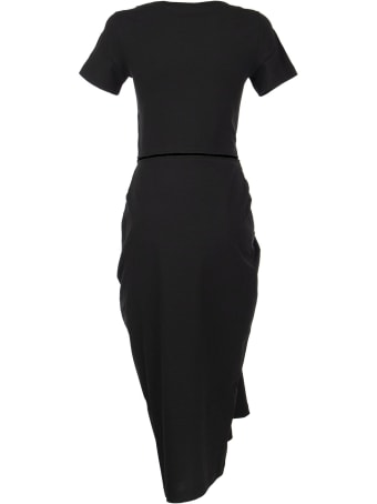 Marni Draped Cotton Jersey Dress Black