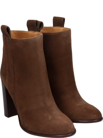 Anna F. High Heels Ankle Boots In Brown Suede
