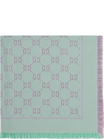 Gucci Pastel-blue Wool Scarf