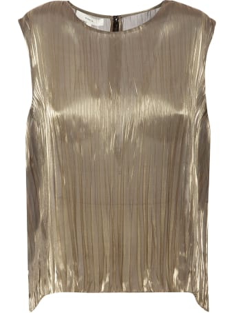 Vince Iridescent Pleated Shell Top